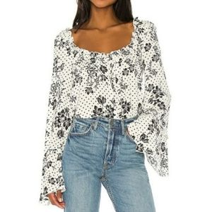 Free People One on One Date Bell Sleeve bodysuit